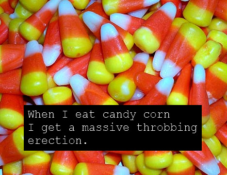 This guy REALLY loves candy corn… maybe a little too much. Maybe.