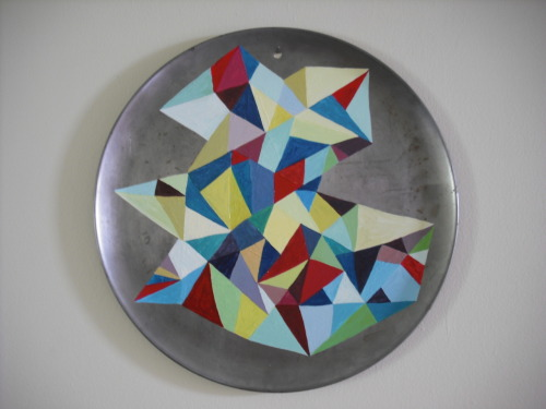 "Annica Damico  16"" diameter metal enamel paint on repurposed metal."