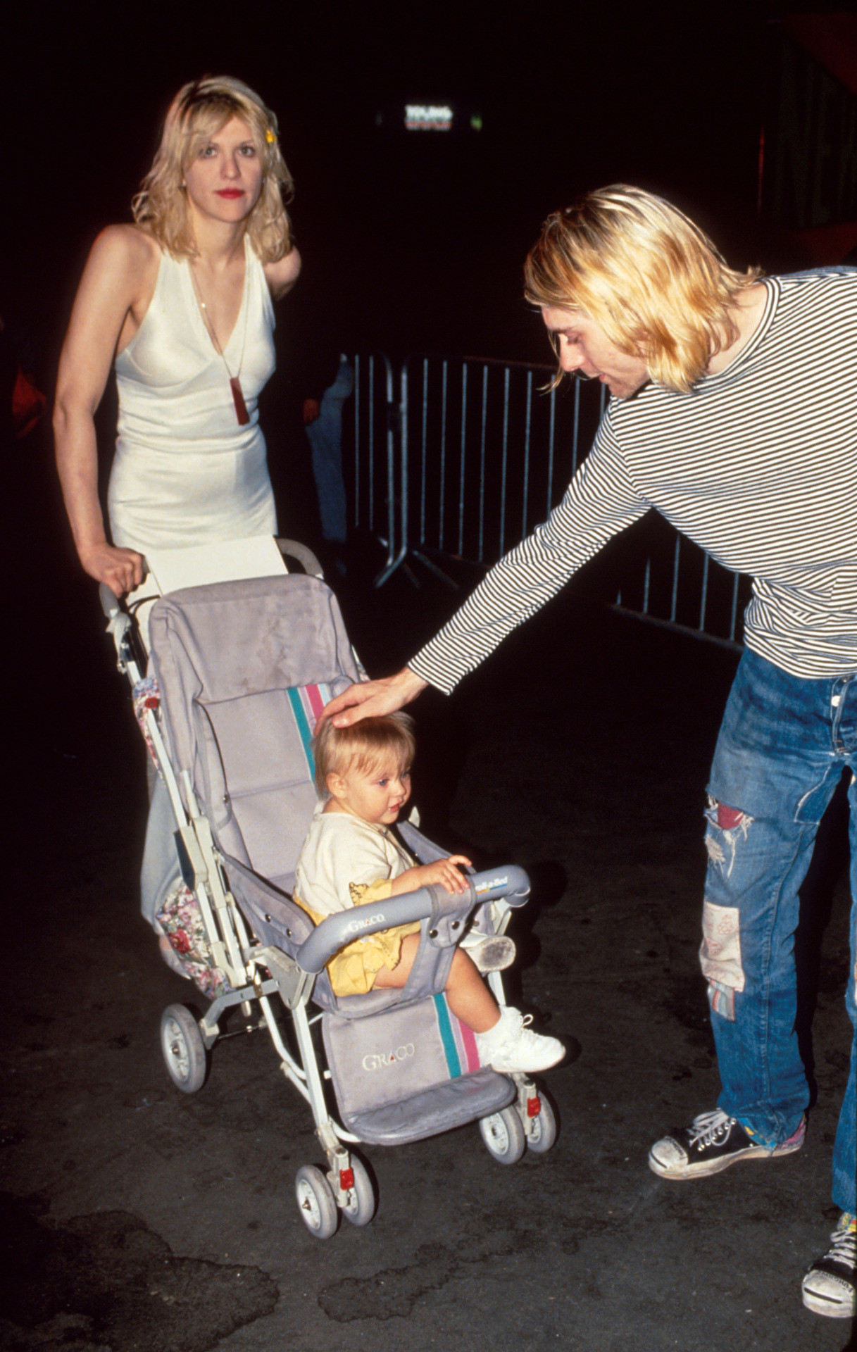 Courtney Love and Kurt Cobain with Frances Bean at the 1993 MTV Music Video Awards