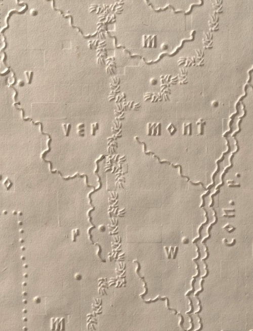 freakyfauna:  Vermont Mountains.Detail from The Atlas of the United States Printed for the Use of the Blind by S.G. Howe, 1837. Found at David Rumsey Map Collection (via).
