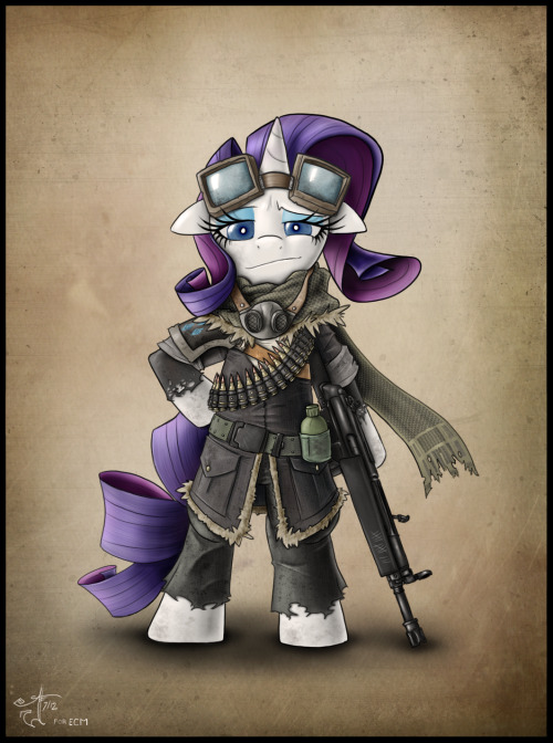 a-little-melancholy:  Some post-apocalyptic Rarity gift art for ECM. He's an amazing artist, and a real inspiration. Thanks for being so awesome ECM!Also on my deviantart, if that's your thing.