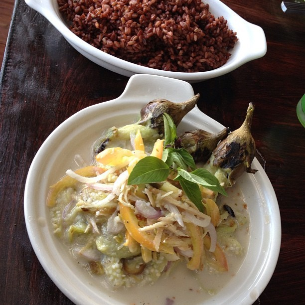 filipeanut:  Talong Kinilaw (eggplant sour salad) and red rice. Filipino food in the province is very different from the fried/pork centric Filipino food in the US. (Taken with Instagram)