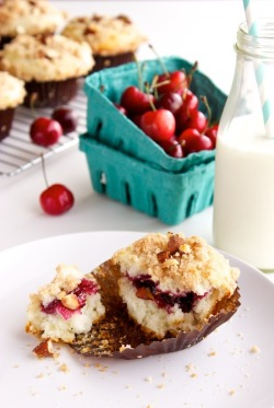 Cherry and almond streusel muffins, yum!