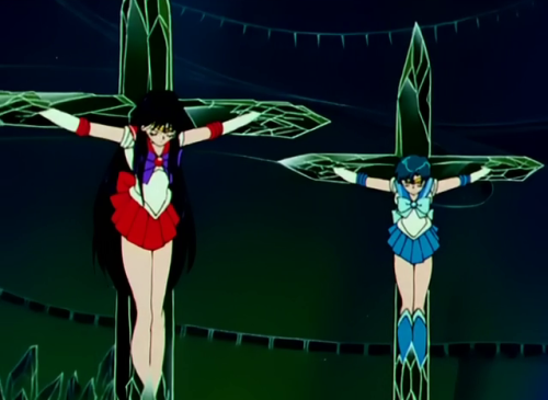 "lifeinflames:  sushi-moon:  Sailor Moon goes Biblical  The sailor Scouts died for our sins.  Oh Lord…I bet there's so much hate out there for this. I have to wonder though, did the creators mean this to be a parallel to Jesus or does this mean something else in Japanese culture and symbolism that I'm unaware of. Furthermore, if it is supposed to parallel Jesus, do they mean it in an ""imitation is the sincerest form of flattery"" sort of way or in a mocking sort of way? Hard to tell just from a picture. I'd be curious of the intent behind it."