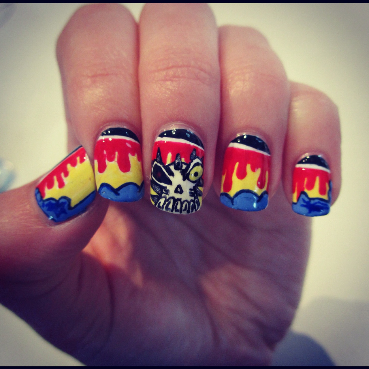 These are nails I did for a contest, which is still actually being voted on! I'll post the inspiration pic soon, but it's for a nail polish brand geared towards men called manglaze. Very cool, and the prize is pretty awesome as well. I've never wanted to win a comp more, because these nails took me TWO HOURS to do. So worth it, I reckon they're awesome. If you'd like to help me out, go to @lacqueredaffair on instagram, and like these nails. On fb go to A Lacquered Affair, head to the 'mani-faces of manglaze' album and like them there, or go to alacqueredaffair.onsugar.com and vote for them there. It would mean the world of you guys would help me out. :)