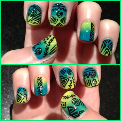 naikaynailsk:  My current mani. Loving the colours on these! So electric.