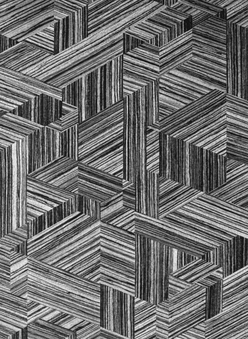 INTARSIA (WOOD VENEER PATTERN), 1960s …grain!