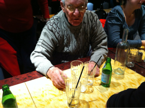 My Dad is using drinking glasses to explain the concept of nuclear fission to my nephew.