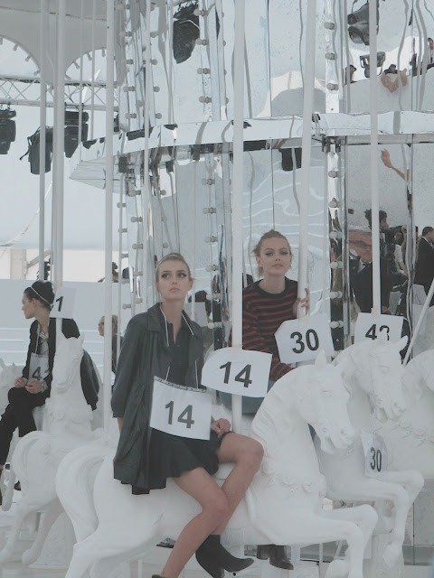 backstage at Louis Vuitton spring/summer 2012 rehearsals