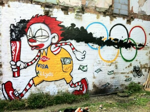 Subersive anti-Olympic sponsor art is springing up all over London. fantastic stuff!  The activist art fraternity are getting really busy and there is going to be spome really imaginative stuff about the place.  What a shame if this takes the shine of some of the slick branding!