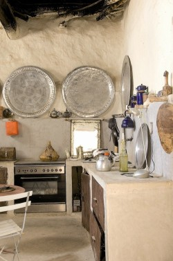 bohemianhomes:  Bohemian Homes: Rustic Kitchen with Moroccan Trays