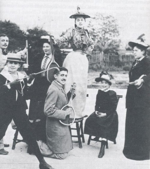 rispostesenzadomanda:  Marcel Proust playing air guitar on a tennis racket, 1892 (source, via) bitches love air guitar