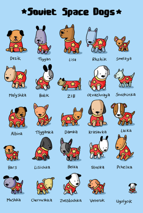 Soviet Space Dogs illustration by Jess Bradley :: via venkman-project.deviantart.com