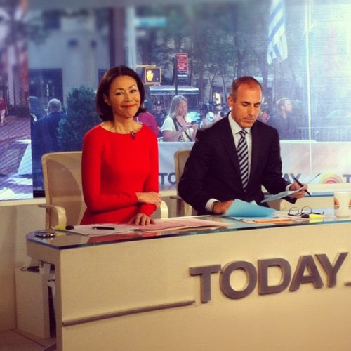 "Ann Curry on set on her last day as ""Today"" co-host."