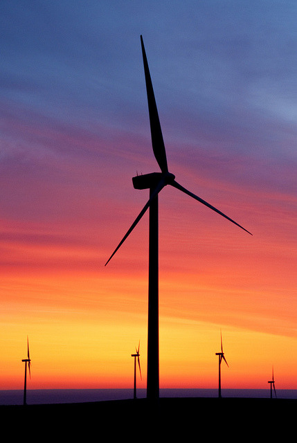 Wild Horse wind turbines at sunrise by Puget Sound Energy on Flickr.