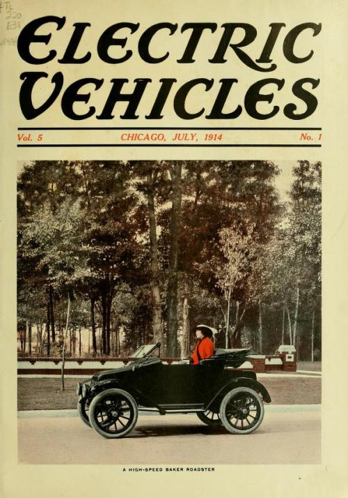 "(cover image of a ""high-speed Baker roadster"") We've recently digitized some volumes from the journal Electric Vehicles. Chock full of useful articles about the latest in battery technology, the pros & cons of switching your commercial fleet from horses to electrics, and one of my favorites, from Vol. 10, No. 1 (1917) is an article titled ""Electric Belles Ring in Year 1917""   For today in several growing cities of this land of automobiles, there are fine up-to-date salesrooms and service stations presided over by women. It's no longer a story of how well she drives a car. It's a tale of how well she sells one and how well she handles repairs. And the men must look to their laurels.  Why have the women forsaken the school, the library, the family hearth and their musical careers for the garage and show room? In the words of little Miss May Watson Brooke, agent for Detroit electrics in Norfolk, Virginia, is the answer. ""Because it gives me a chance to express myself and I am tired of being moulded into someone else's design for a stated sum each month."""