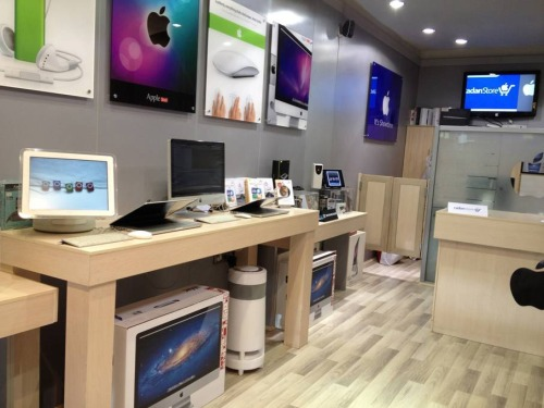 "reuters:  At its gleaming store, RadanMac offers the latest Apple gear - the new iPad, iPhones, iPods, laptops, all-in-one desktop computers and more. But this is no ordinary Apple store. It's in Tehran, where Apple and other U.S. computer products are banned under U.S. sanctions that have been in place for years. Despite the embargo, RadanMac is one of an estimated 100 stores in the Iranian capital that openly sell Apple products, often at little more than U.S. prices. ""Business has been booming for the last three years,"" said Majid Tavassoli, the store's owner, in a phone interview. He said his company employs more than 20 staffers and has been supplying Apple products to Iranian buyers since 1995. The company also has a servicing unit and a business sales arm whose clients have included the Central Bank of Iran, state television channels, newspapers and design professionals. READ ON: Despite sanctions, Apple gear booms in Iran  Meanwhile in the U.S., Apple Store managers in Atlanta are going after customers that speak Farsi. (It's worth noting, by the way, that the machine on the left is not an iPad, but an iMac model that's about a decade old.)"