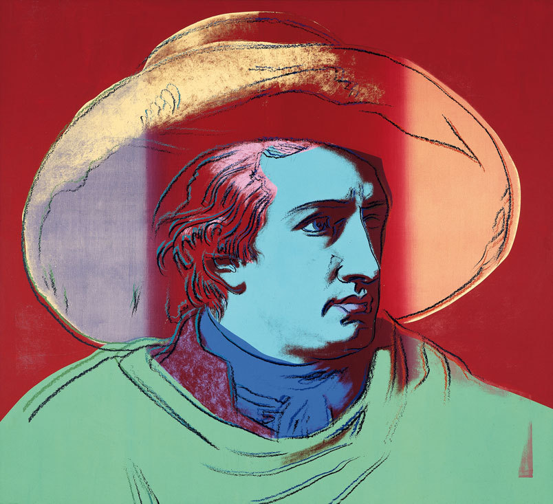 "Andy Warhol, Goethe, 1981, acrylic on canvas, 205 x 225 cm, Siegfroed Weishaupt Collection, © Artists Rights Society, New York, photo: Archive Siegfried Weishaupt Collection. Laupheim. ""The moment one definitely commits oneself, then Providence moves as well. All sorts of things occur to help one that would never otherwise have occurred. A stream of events issues from the decision, raising in one's favor all manner of unforeseen accidents, meetings and material assistance that no one could have dreamed would come their way. Whatever you can do or dream you can do, begin it. Boldness has genius, power and magic in it. Begin it now.""      -Goethe Love Goethe, my only beef with him, at least from historic portraits, is that it seems he never rocked any facial hair."