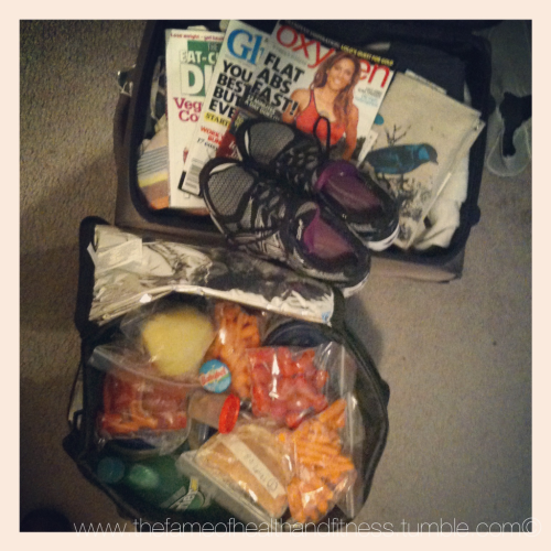 ROAD TRIP I've got all my necessities packed, Oxygen magazine, runners, and clean eats. What's in my cooler? 1. Baby carrots 2. Grape tomatoes 3. Celery 4. Cucumbers 5. Green beans 6. Bell peppers 7. Extra lean ground turkey 8. Tofu 9. Chicken 10. Protein pancakes 11. Almonds 12. Light Mini Babybel cheese 13. Apple 14. sprouted grain English muffins with all natural crunchy peanut butter 15. water