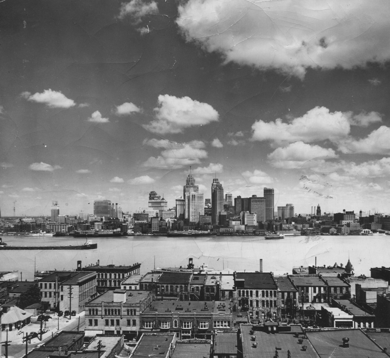 1928.  Detroit waterfront skyline.