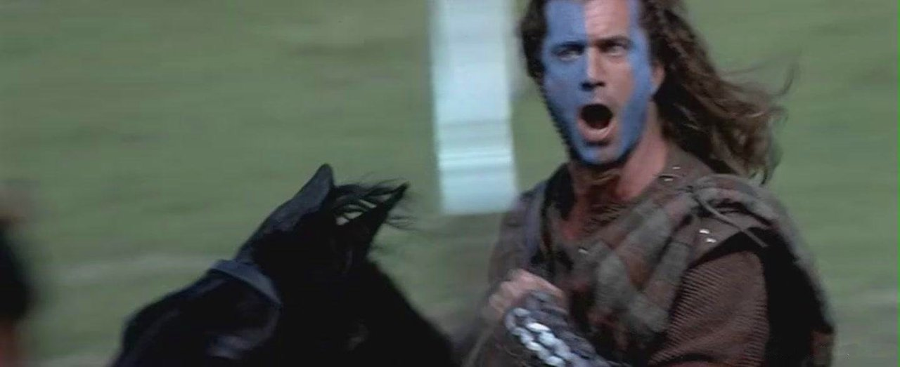"""THEY WILL NEVER TAKE OUR FREEDOM!"" Mel Gibson in BRAVEHEART (1995, dir. Mel Gibson)"