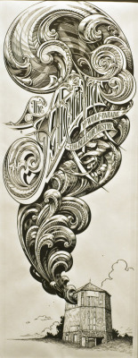 serialthrillerinspiration:  The Arcade Fire Drawing by Aaron Horkey.