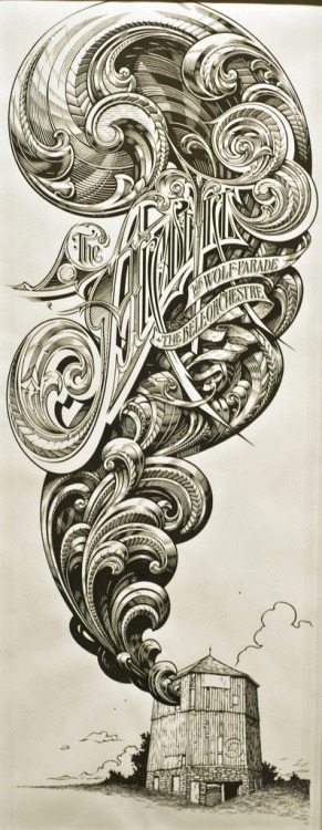 Typeverything.com - The Arcade Fire Drawing by Aaron Horkey.