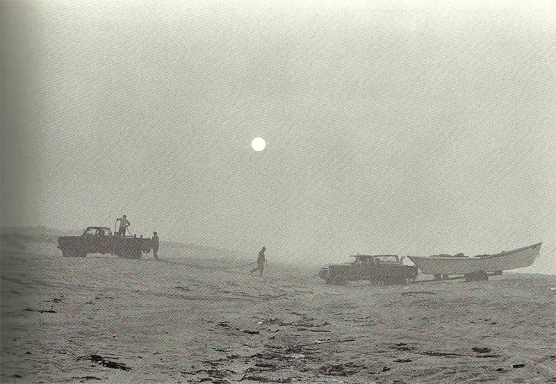 Towing on Fire Island in the fog, 1983