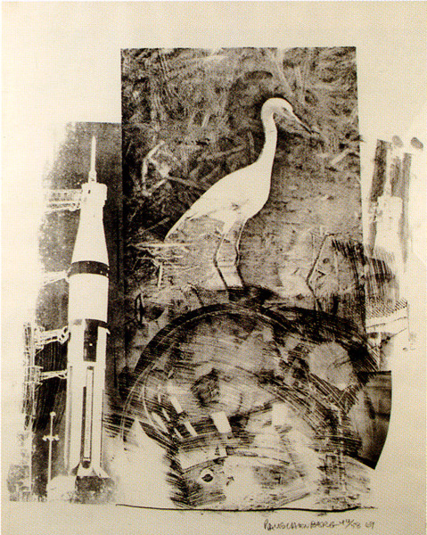 "Robert Rauschenberg, Horn (Stoned Moon Series), 1969. Lithograph. See it in the Summer Selections exhibition at Woodward Gallery (133 Eldridge Street, Manhattan) The National Gallery of Australia on the Stoned Moon series: ""In 1969 Rauschenberg was invited by the National Aeronautics and Space Administration (NASA) to witness one of the most significant social events of the decade − the launch of Apollo 11, the shuttle that would place man on the moon. NASA provided Rauschenberg with detailed scientific maps, charts and photographs of the launch, which formed the basis of the Stoned moon series − comprising thirty-three lithographs printed at Gemini GEL. The Stoned moon series is a celebration of man's peaceful exploration of space as a 'responsive, responsible collaboration between man and technology'."""
