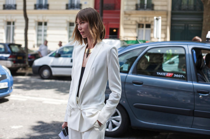 topshop:  Anya Ziourova makes an impression in her white summer suit.