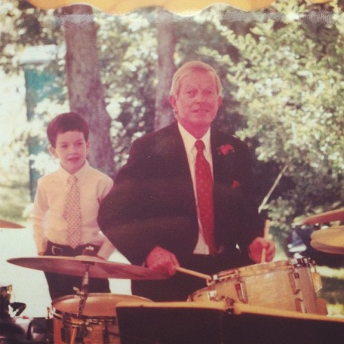 From my Nana. Me age 6 watching my Grandfather play drums. I wish I still wore clip-on ties.  (Taken with Instagram)