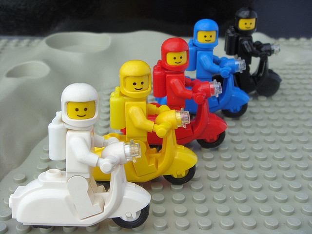 Five Flavors of Classic Space on Scooters by TooMuchDew on Flickr.