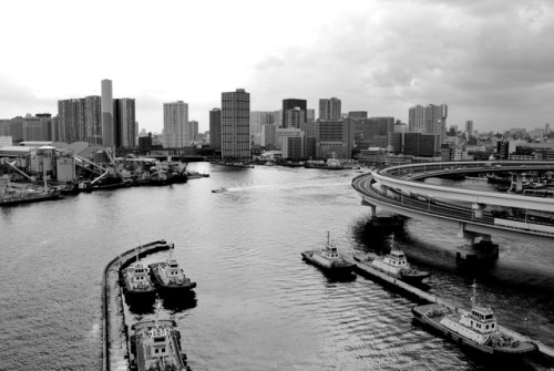 What a view from the Rainbow Bridge, Odaiba. Worth the walk. Nevermind the Fujifilm building, I liked the tug boats  the most.