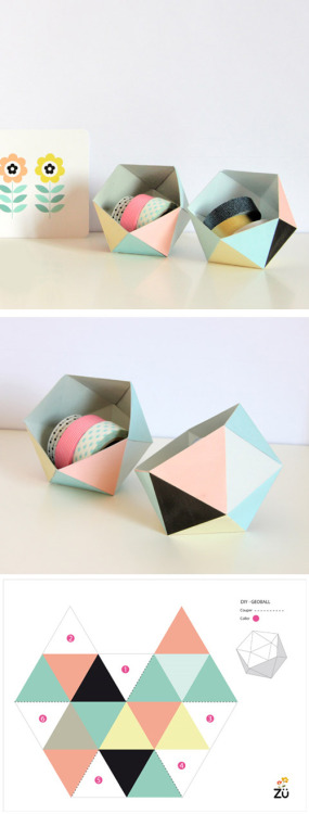 salt-n-paper:  Heart Handmade UK: Free Printable GeoBall DIY Box for your desk from ZÜ