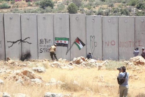 Syrian independence flag decorates the apartheid wall in #palestine  #syria