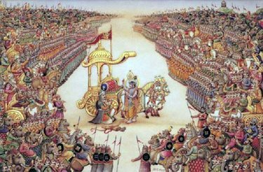 What is the Bhagavad Gita?  A 700-verse Hindu scripture that is part of the ancient Sanskrit epic Mahabharata. The context of the Gita is a conversation between Krishna and the Pandava prince Arjuna taking place in the middle of the battlefield before the start of the Kurukshetra War with armies on both sides ready to battle. Responding to Arjuna's confusion and moral dilemma about fighting his own cousins who command a tyranny imposed on a disputed empire, Lord Krishna explains to Arjuna his duties as a warrior and prince, and elaborates on yoga, Samkhya, reincarnation, moksha, karma yoga and jnana yoga among other topics. Join us for our Bhagavad Gita Workshop with Edwin Bryantat Samaya Education on SEPTEMBER 14–16, 2012 Sign up at www.YOGASUKHAVATI.com