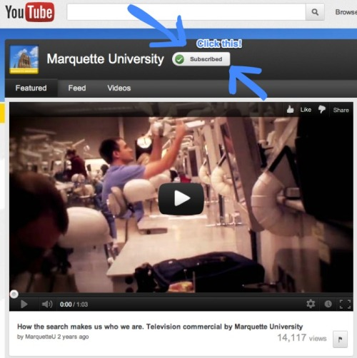 Do you subscribe to Marquette's YouTube channel? Go to this link, click the subscribe button, and get our latest videos emailed to you.