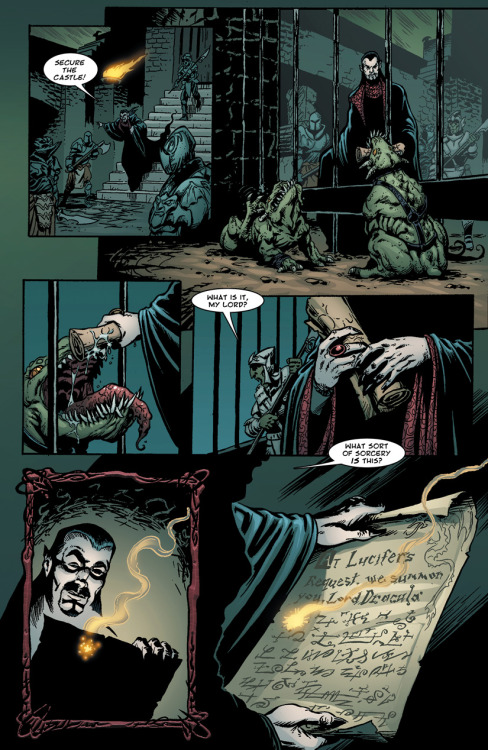 Preview: Page Nine of Dracula vs King Arthur. Dracula receives a message from Lucifer. Click through the image to check out the new DvKA site!