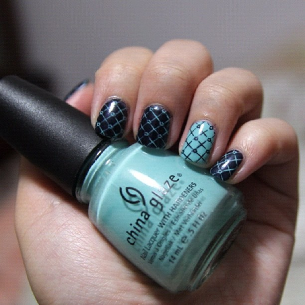 Inverted Tiffany blue #nailart #nails #polish #manicure (Taken with Instagram)