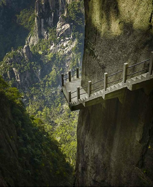 Cliffside Steps, Hunan, China photo via llacigart