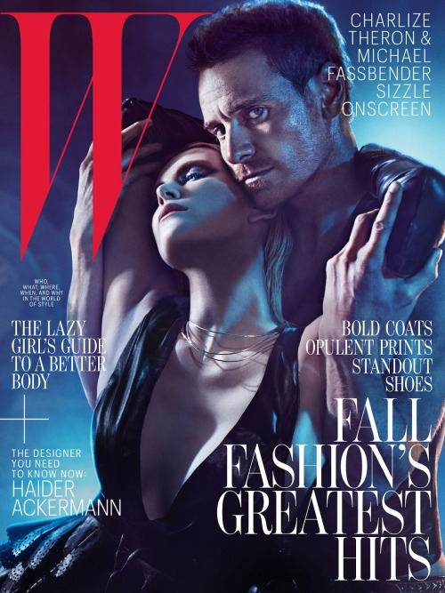 Steamy scene. Charlize Theron and Michael Fassbender styled by Edward Enninful and photographed by Mario Sorrenti for W magazine, August 2012.