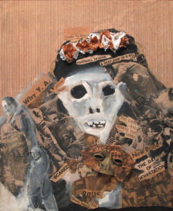 Fran Herndon, King Football, 1962Collage on masonite, 24 3/4 x 21 1/4 in. via goldteefthief