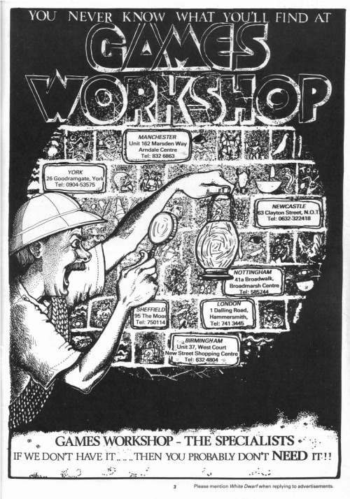 "Games Workshop advert, 1985. To his gibbering, sanity-blasting horror, Algernon slowly realised with mounting terror that the blackened and blasphemous hieroglyphics upon the plastered walls of the dread tomb of the utterly unmentionable Tentacled Pharoah of the Damned Dynasty read only ""Do you need any paints or glue?"""