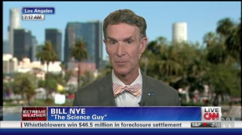"mohandasgandhi:  sagansense:  Bill Nye to CNN: ""The two sides aren't equal' on climate change Science educator Bill Nye on Monday told CNN that they weren't doing the public any favors by giving climate change deniers equal airtime because 'the two sides aren't equal."" ""There are a couple of things that you can't really dispute,"" Nye explained to CNN's Carol Costello. ""Sixteen of the last 17 years have been the hottest years on record. That's just how it is."" ""I appreciate that we want to show two sides of the stories — there's a tradition in journalism that goes back quite a ways, I guess — but the two sides aren't equal here. You have tens of thousands of scientists who are very concerned and you have a few people who are in business of equating or drawing attention to the idea that uncertainty is the same as doubt. When you have a plus or minus percentage, that's not the same thing as not believing the whole thing at all."" The Washington Post noted on Sunday that scientists had been warning for years that because of warming weather and severe droughts, Colorado's ""table was set"" for monster wildfires like the ones currently sweeping through the state. ""It is because of the heat ultimately,"" Nye told Costello. ""Just two years ago, it was was wet in Colorado and there was a lot of growth in forests. And then you can say they should have responsibly cleared that growth — it's a difficult thing. So then two years later when it's especially dry and the forest flora gets especially dry and then there's a lightening strike, the fire is that much more intense than it would have been."" ""But the people who are politicizing this issue, they seem to be winning because not much is being done on the issue of climate change,"" Costello pointed out. ""If you're a voter consider taking the environment into account as well as the economy,"" Nye advised. ""I think the two candidates running for president right now have different views about the validity, for example, of science and the importance of it and what you would do about climate change in the coming years."" ""We in the science education community chip away at this problem all the time. We have an enormous population of people in the United States that don't believe in evolution, the fundamental idea in all of life science. It would be like saying, I don't believe in earthquakes or something. The analogies are disturbing."" Earlier this year, a Media Matters analysis determined that coverage of climate change had dropped by 80 percent on U.S. broadcast networks between 2008 and 2011. Watch this video from CNN's Newsroom, broadcast July 2, 2012.  Bill! Bill! Bill! Bill!"