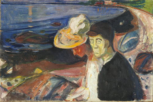 arfur:  Edvard Munch: Man and Woman on the Beach, 1907'Salvation shall come from symbolism' declared Munch. 'By that I mean art where the artist submits reality to his rule, which places mood and thought above everything and only uses reality as a symbol.' This dreamlike image is much more about the figures than the landscape, reeking of disquiet, depression and unspoken turmoil