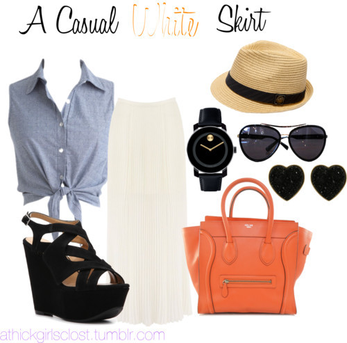A Casual White Skirt by athickgirlscloset featuring movado jewelry
