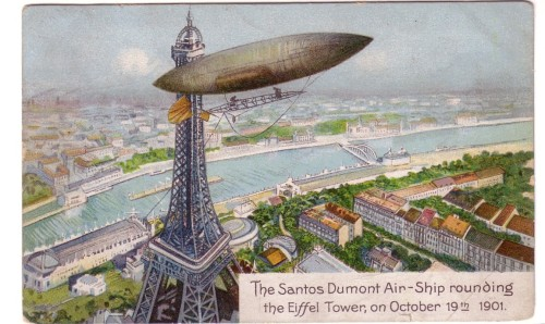 vintagemarlene:  vintage postcard, 1901  The Santos Dumont Air-Ship rounding the Eiffel Tower, on October 19th 1901