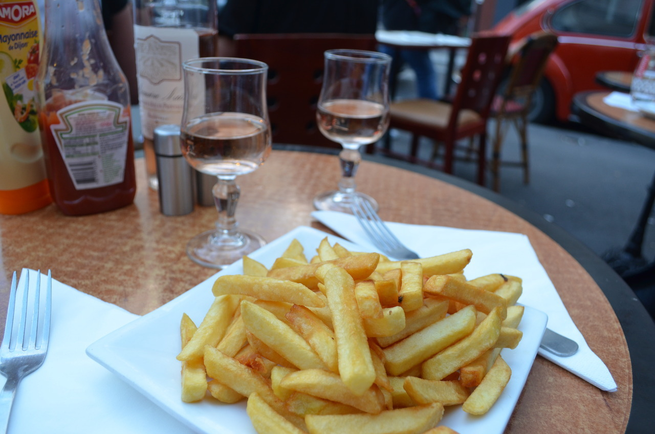 Rosé and frites at a little brasserie in Montmartre