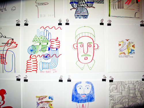mikeperrystudio:    Photos by Meredith Jenks from the 24 hour drawing extravaganza. Trying to raise money for my Kick Starter Project. Check it out here: http://www.kickstarter.com/projects/868632256/wondering-around-wandering