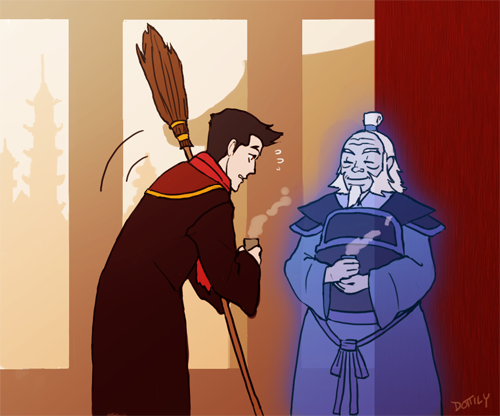 MORE KORRA POTTER OOPS IROH'S THE HOUSE GHOST FOR THE FIRE HOUSE yep he'd probably hang out in the halls between classes and have tea with students and give advice and then they'd all end up being late to their next class haha he's everyone's favorite school ghost though i bet he tries to give Mako love advice
